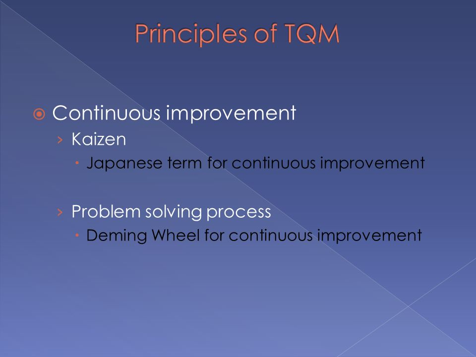  Continuous improvement › Kaizen  Japanese term for continuous improvement › Problem solving process  Deming Wheel for continuous improvement
