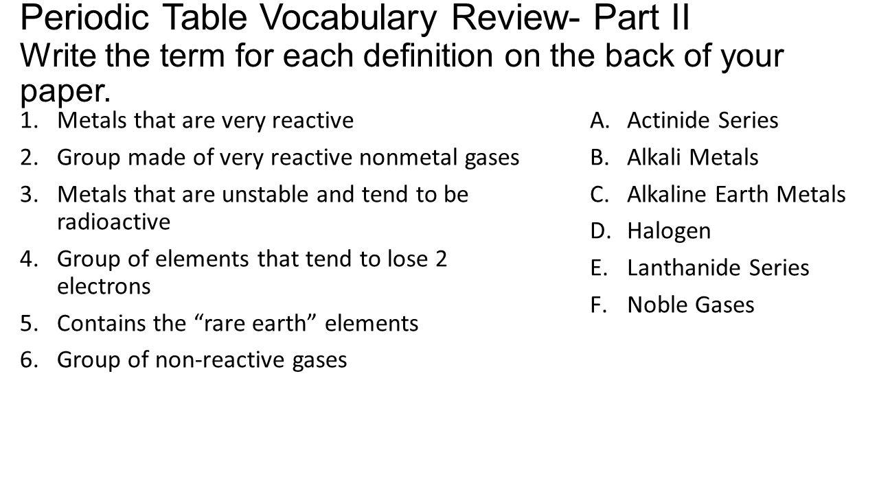 Periodic table vocabulary review periodic table vocabulary review 3 periodic gamestrikefo Images