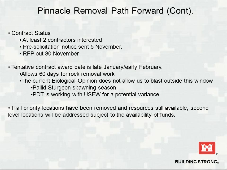 BUILDING STRONG ® Pinnacle Removal Path Forward (Cont).