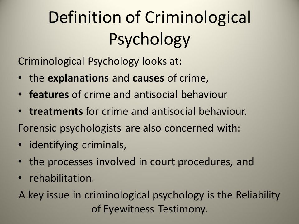 criminal psychology key definitions. by the end of the session you, Human Body