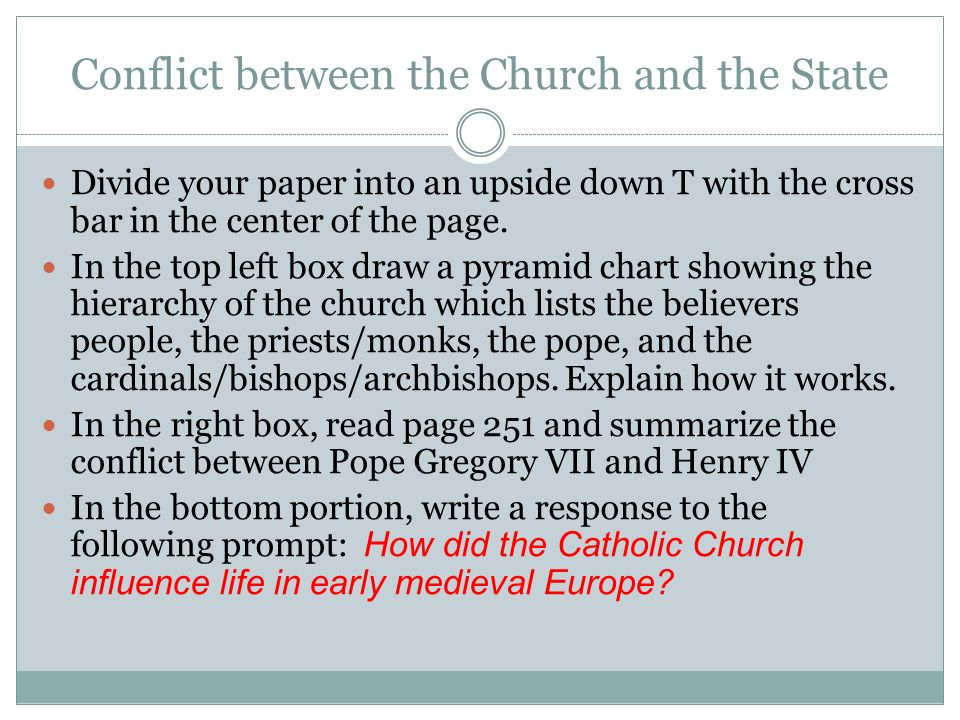 conflict between the catholic church and state leaders during the middle ages in europe Part 7 charlemagne, father of modern europe the central event of the middle ages was this was to lead to much conflict between church and state.