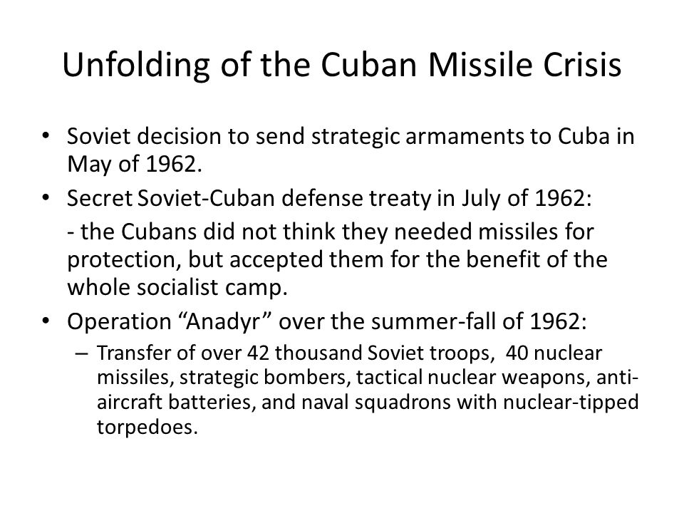 a history of the cuban nuclear missile crisis in october 1962 On 14th october 1962 a us spy plane flying over cuba reported the installation of russian nuclear missile bases the picture (left) is one of those taken f.