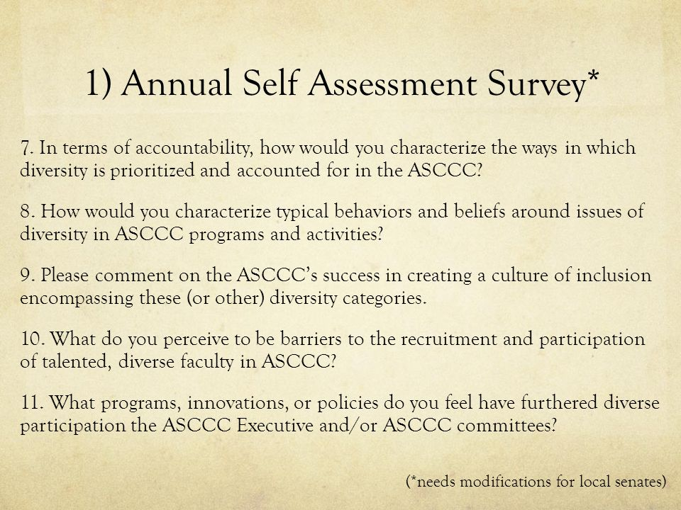 1) Annual Self Assessment Survey* 7.