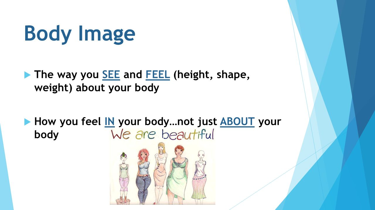 Body Image  The way you SEE and FEEL (height, shape, weight) about your body  How you feel IN your body…not just ABOUT your body
