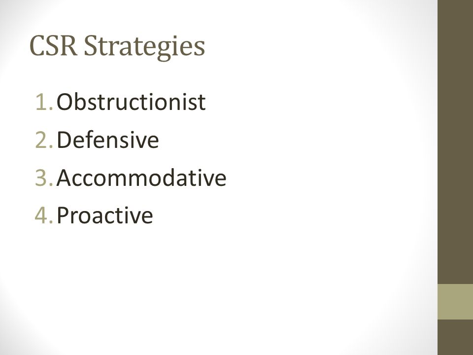 CSR Strategies 1.Obstructionist 2.Defensive 3.Accommodative 4.Proactive