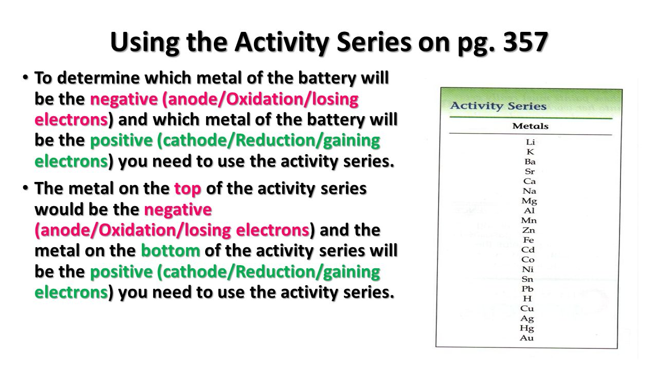 The battery writing oxidation and reduction reactions you will need using the activity series on pg urtaz Image collections