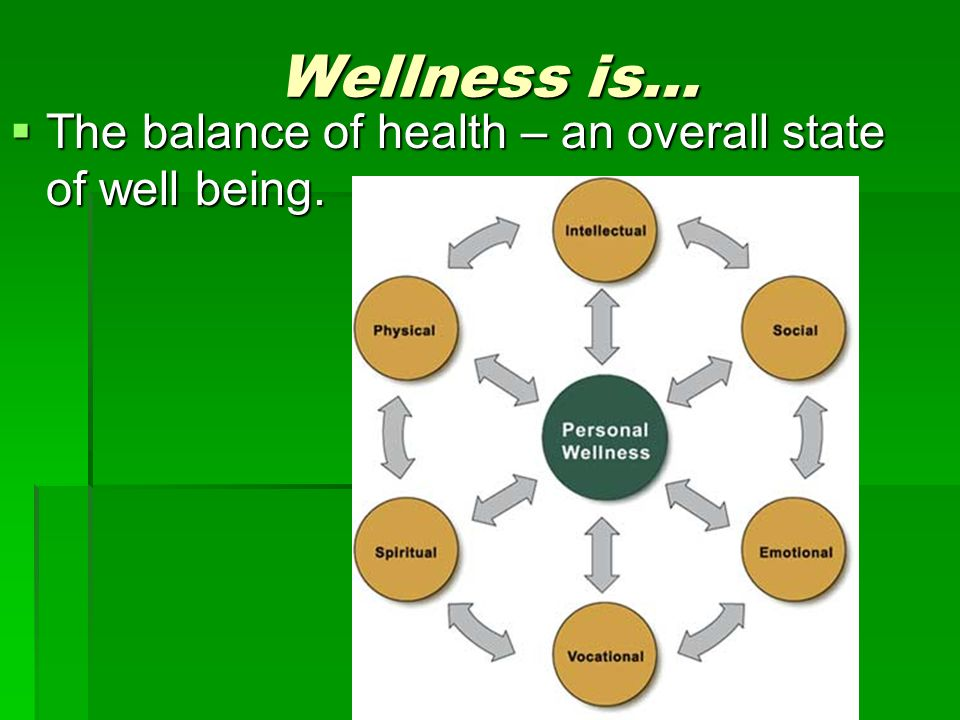 Wellness is…  The balance of health – an overall state of well being.