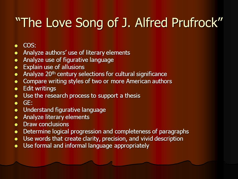 the love song of j alfred prufrock rdquo t s eliot ppt the love song of j alfred prufrock t s eliot 2 ldquothe