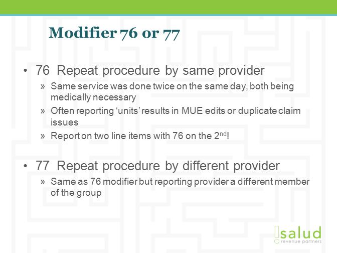 Image result for CPT Modifier 76 and 77