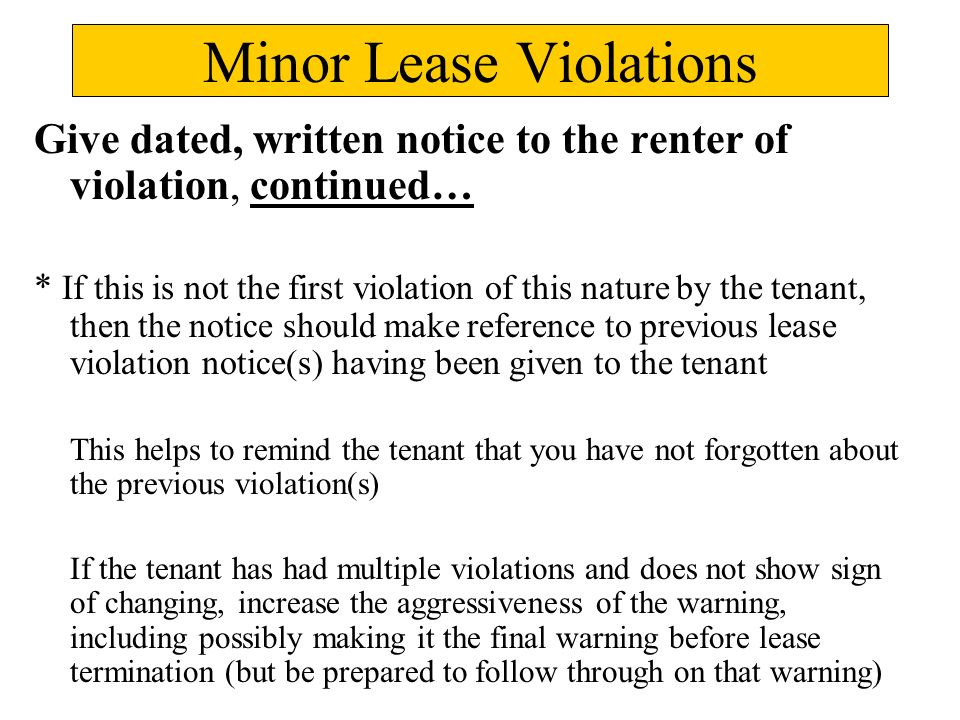lease violations