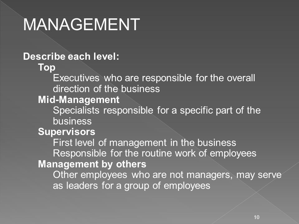 10 Describe each level: Top Executives who are responsible for the overall direction of the business Mid-Management Specialists responsible for a specific part of the business Supervisors First level of management in the business Responsible for the routine work of employees Management by others Other employees who are not managers, may serve as leaders for a group of employees MANAGEMENT