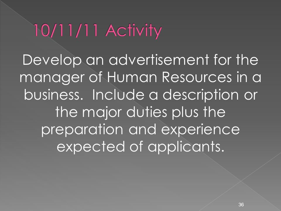 Develop an advertisement for the manager of Human Resources in a business.