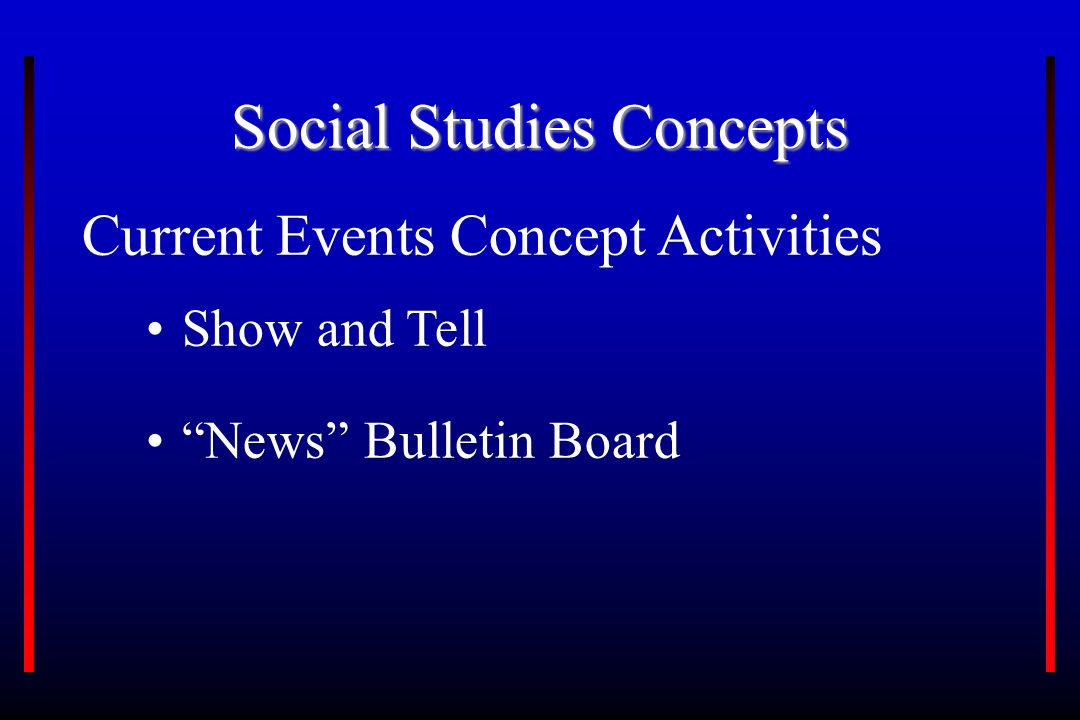 Social Studies Concepts Current Events Concept Activities Show and Tell News Bulletin Board