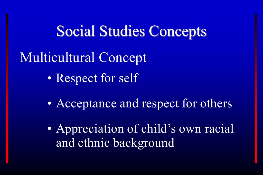 Social Studies Concepts Multicultural Concept Respect for self Acceptance and respect for others Appreciation of child's own racial and ethnic background