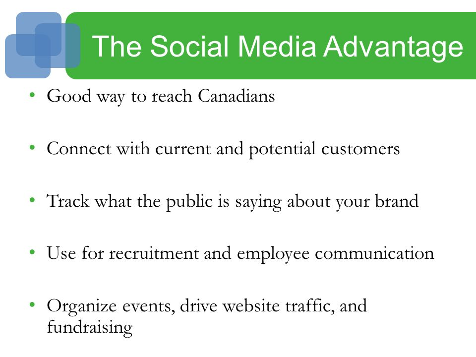The Social Media Advantage Good way to reach Canadians Connect with current and potential customers Track what the public is saying about your brand Use for recruitment and employee communication Organize events, drive website traffic, and fundraising