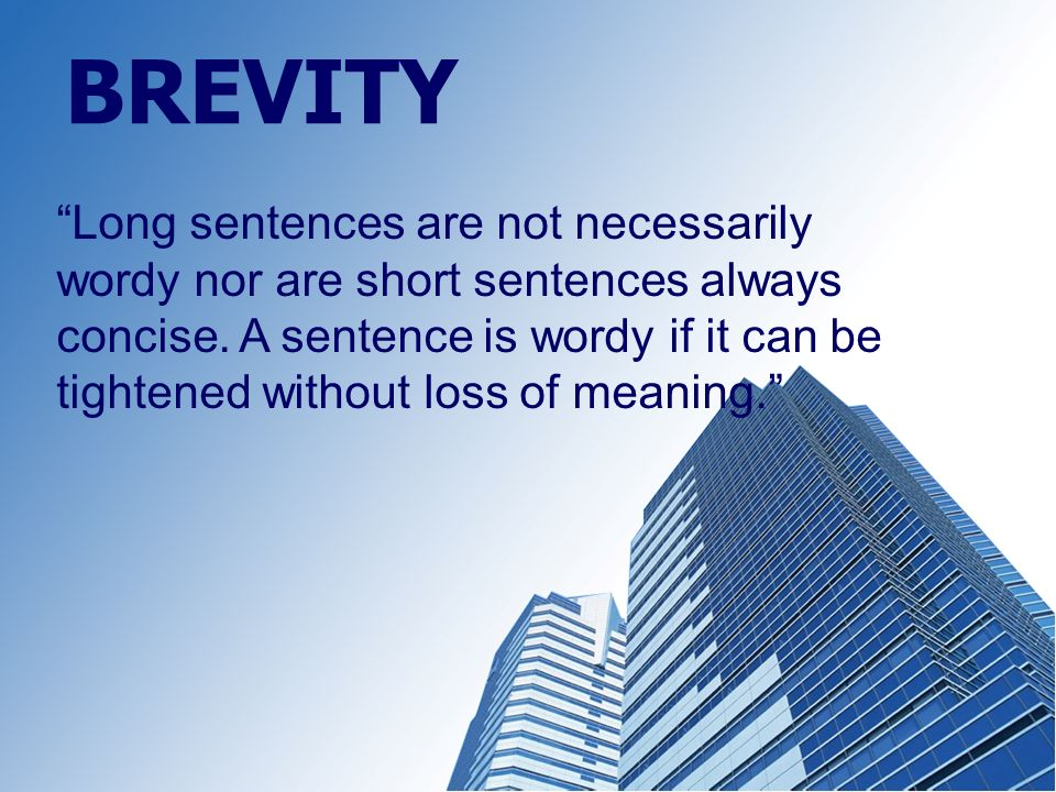 Brevity used in a sentence
