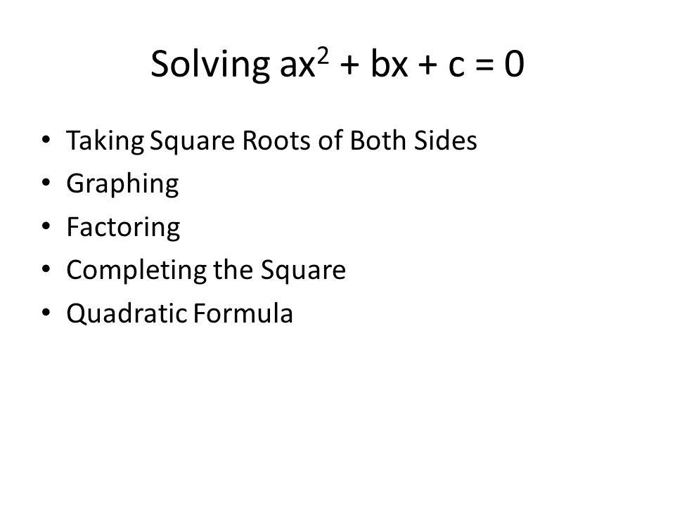 Quadratic Equations Solving ax 2 bx c 0 Taking Square Roots – Factoring Ax2 Bx C Worksheet