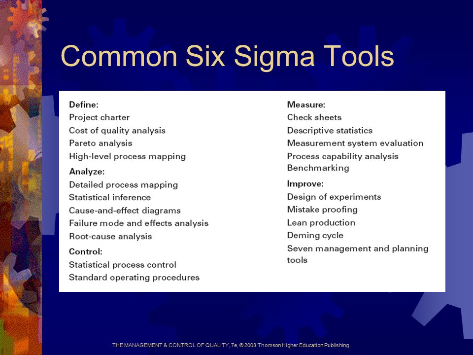 THE MANAGEMENT & CONTROL OF QUALITY, 7e, © 2008 Thomson Higher Education Publishing Common Six Sigma Tools