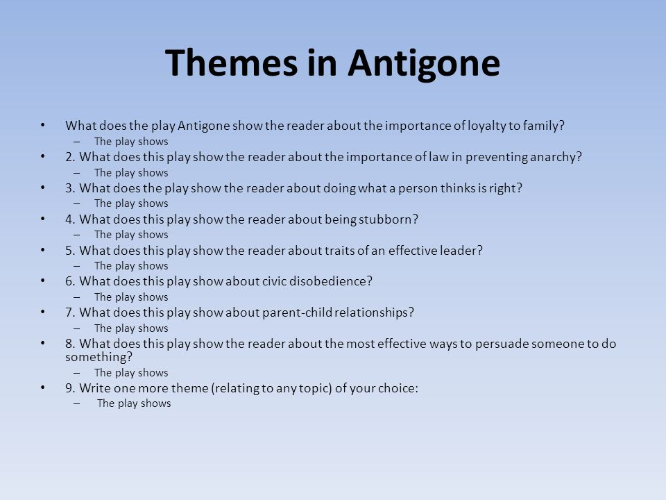 antigone theme of family loyalty Explanation of the famous quotes in antigone, including all important speeches, comments, quotations, and monologues.