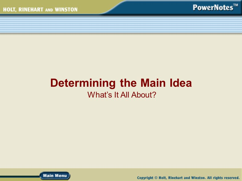 Determining the Main Idea Whats It All About What Is a Main – Implied Main Idea Worksheet