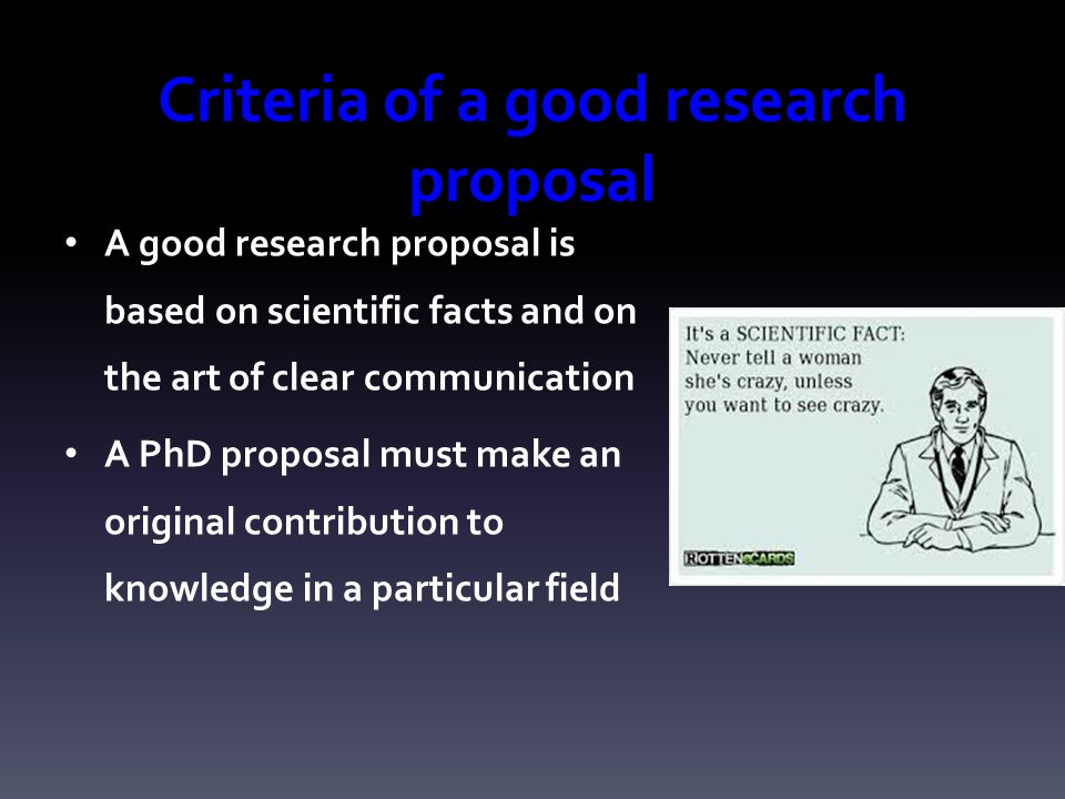 Good Research Proposals