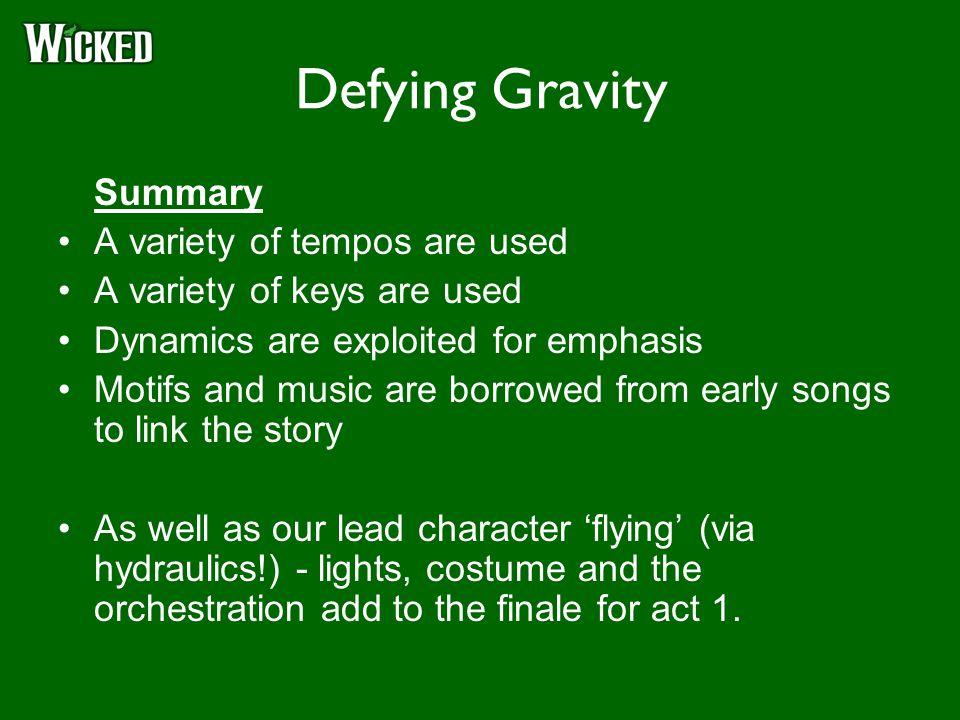 Defying gravity song analysis essay