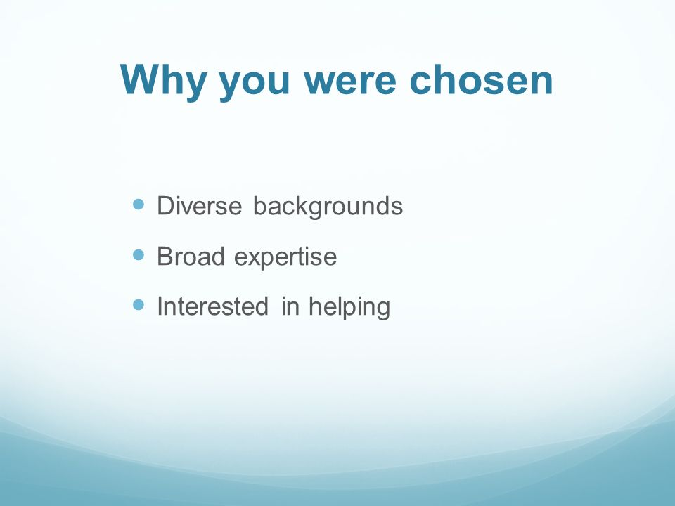 Why you were chosen Diverse backgrounds Broad expertise Interested in helping