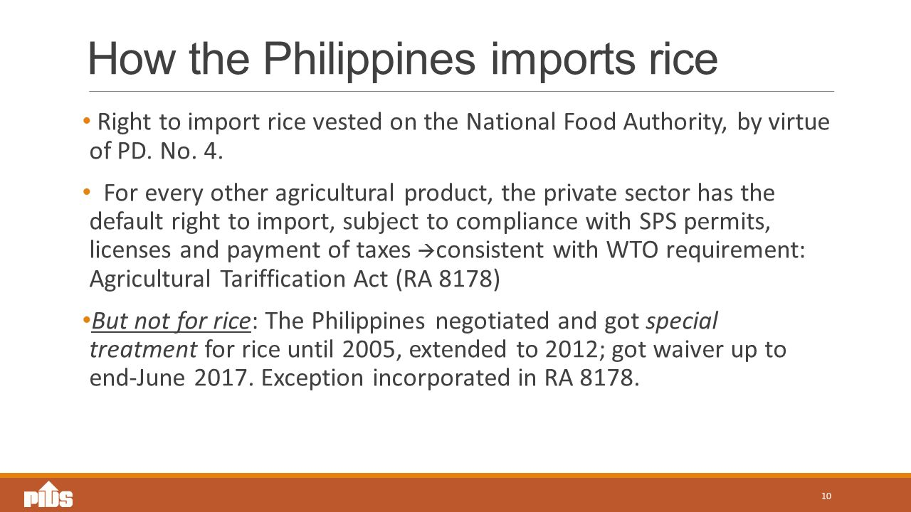 How the Philippines imports rice Right to import rice vested on the National Food Authority, by virtue of PD.