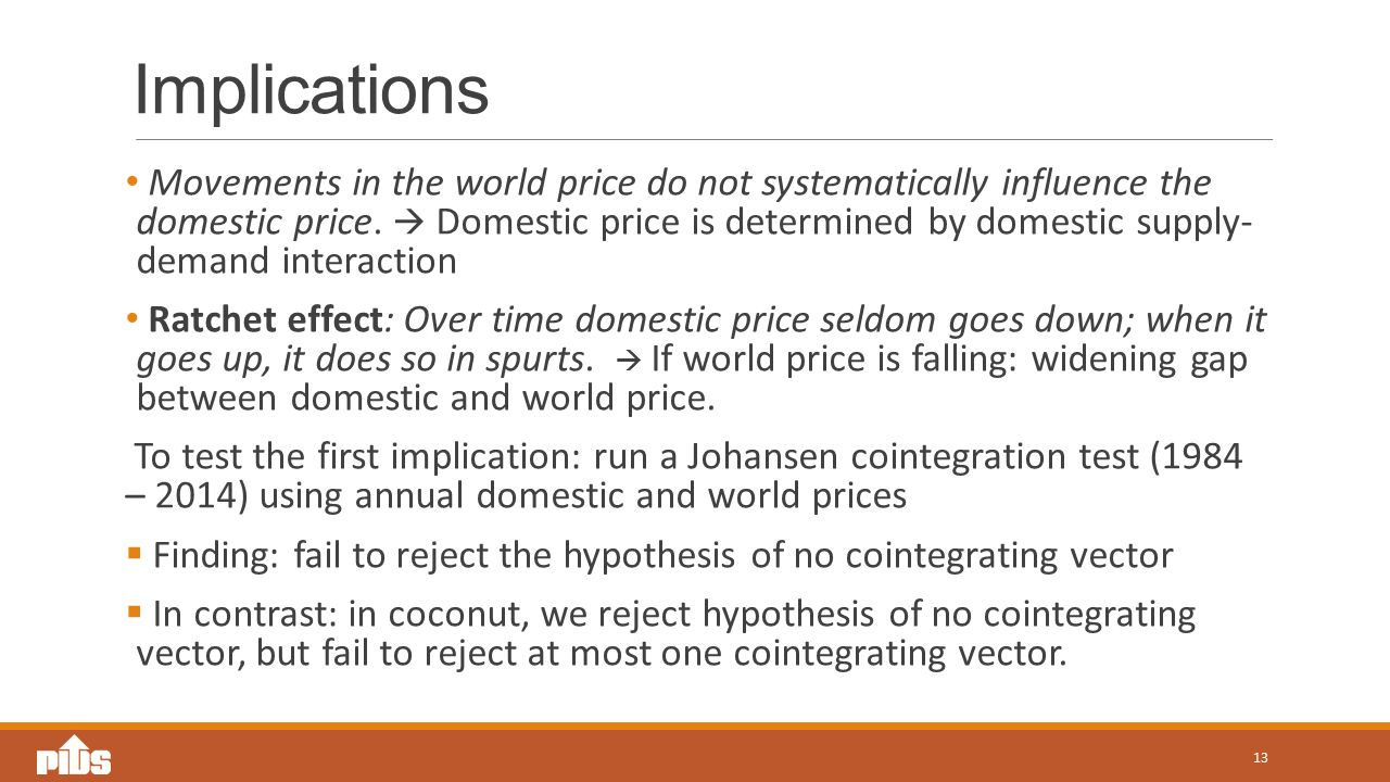 Implications Movements in the world price do not systematically influence the domestic price.