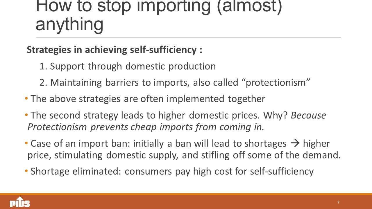 How to stop importing (almost) anything Strategies in achieving self-sufficiency : 1.