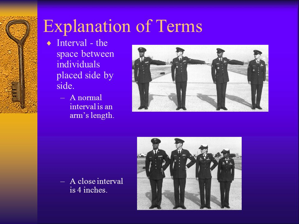 Explanation of Terms  In Column - the arrangement of units side by side with guide and element leaders at the head.
