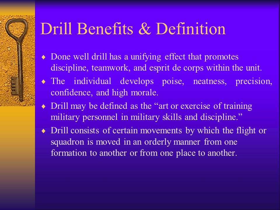 Drill Benefits  Leadership training is one of the major objectives of the Air Force JROTC program.  The simplest and most effective ways to teach le