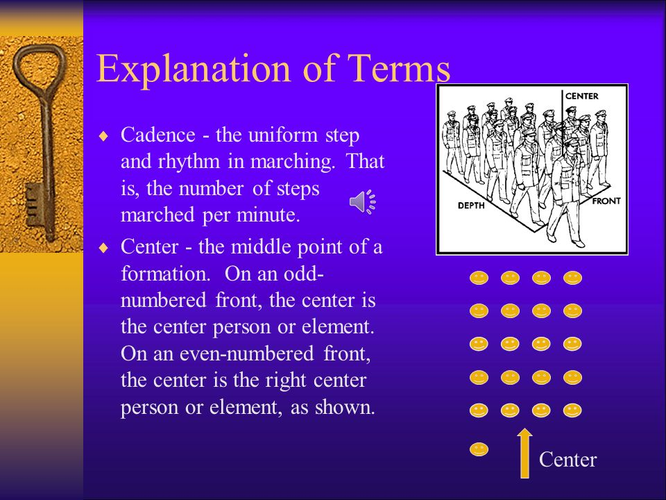 Explanation of Terms  Adjutant - a ceremonial position occupied by the junior member of the command staff in reviews and parades. The adjutant is res