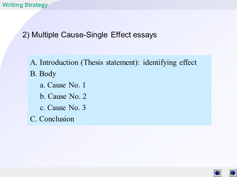 single cause multiple effect
