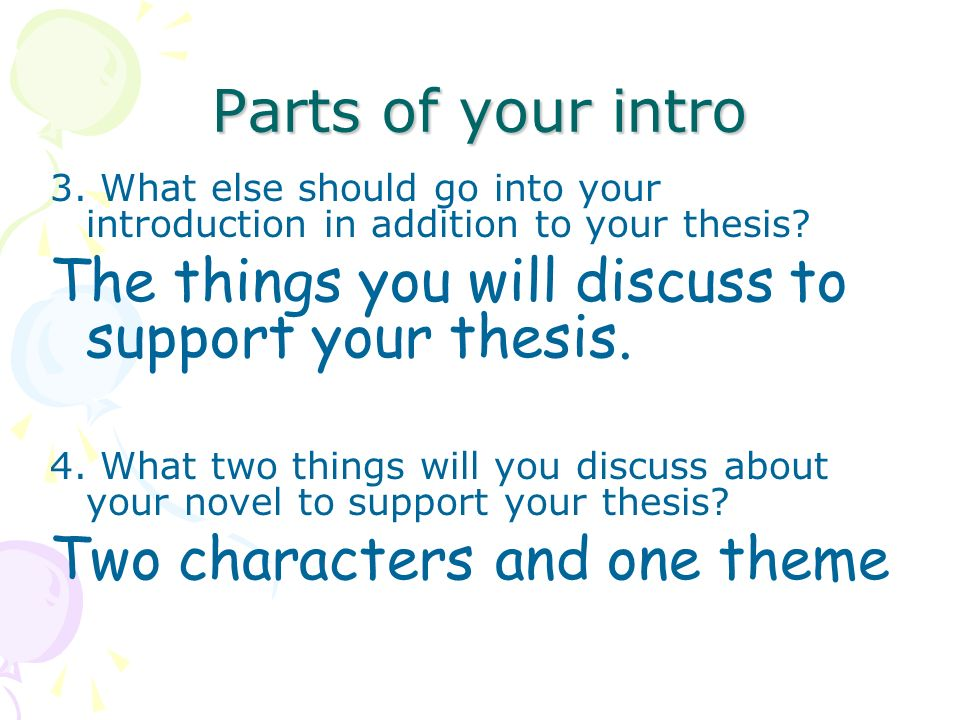 Thesis Parts