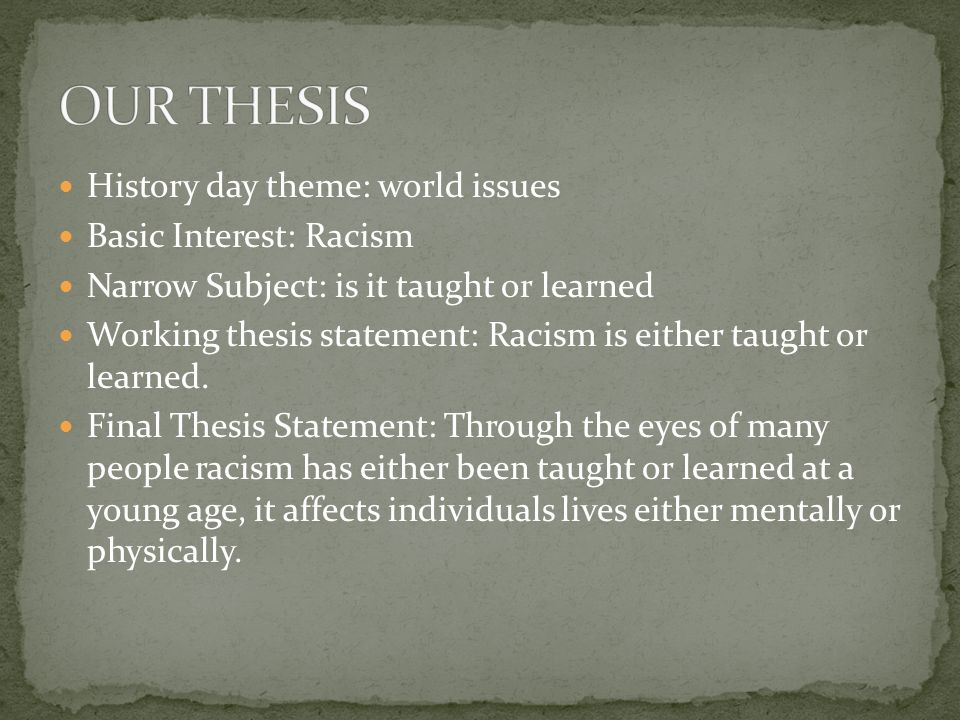 Thesis statement racism