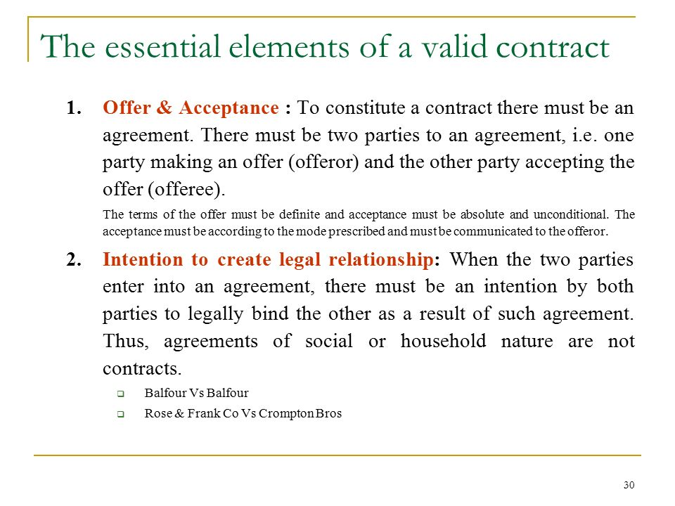 Valid Contract Essential Elements Sale Of Goods Essential