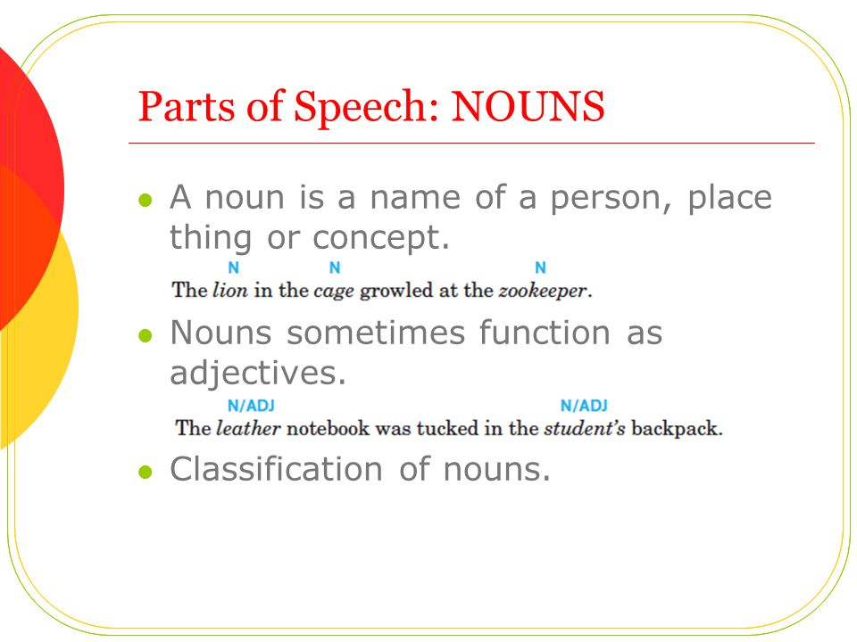 Parts of Speech: NOUNS A noun is a name of a person, place thing or concept.