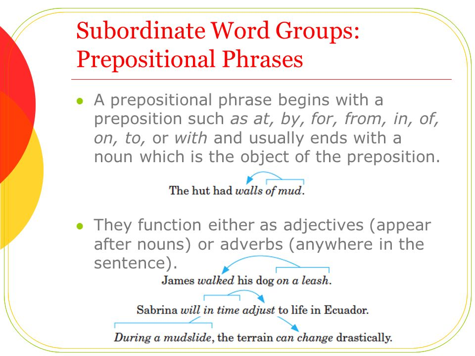 Subordinate Word Groups: Prepositional Phrases A prepositional phrase begins with a preposition such as at, by, for, from, in, of, on, to, or with and usually ends with a noun which is the object of the preposition.