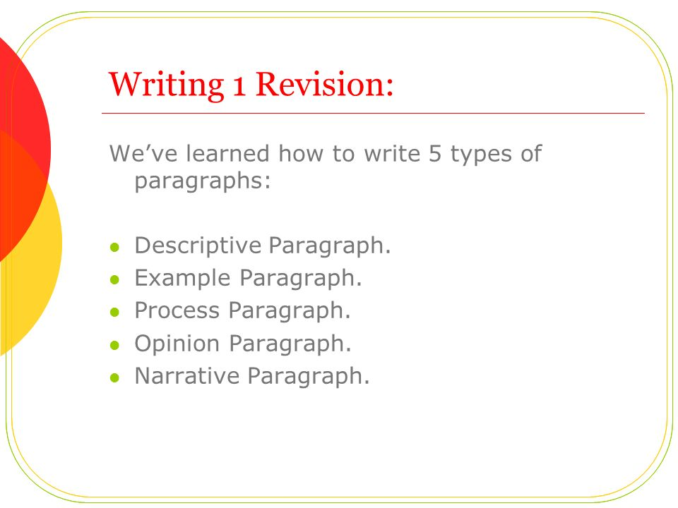 Writing 1 Revision: We've learned how to write 5 types of paragraphs: Descriptive Paragraph.
