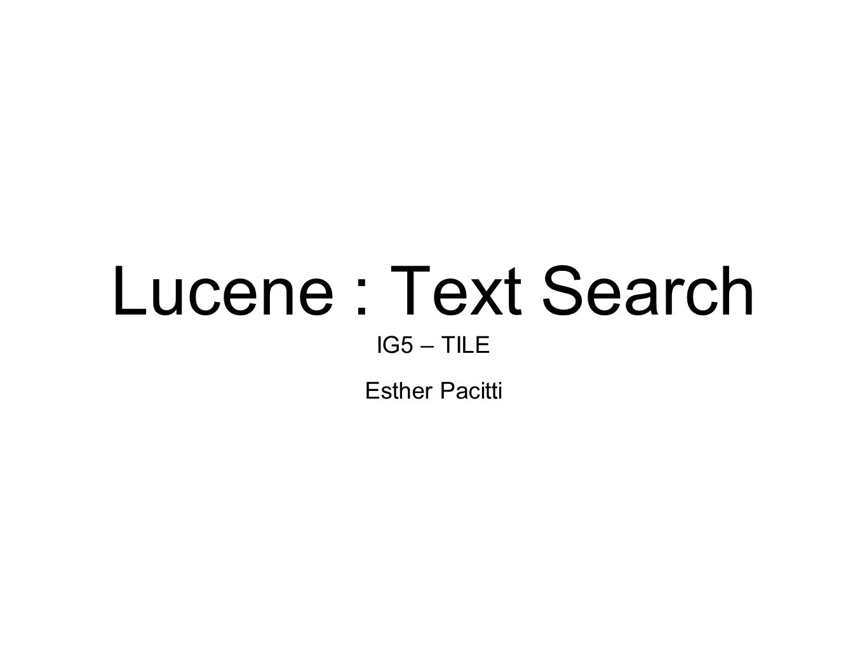 Lucene text search ig5 tile esther pacitti basic architecture 1 lucene text search ig5 tile esther pacitti baditri Gallery