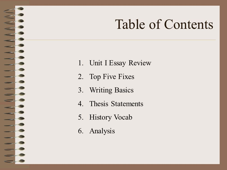 essay writing tutorial table of contents unit i essay review  2 table of contents 1 unit i essay review 2 top five fixes 3 writing basics 4 thesis statements 5 history vocab 6 analysis