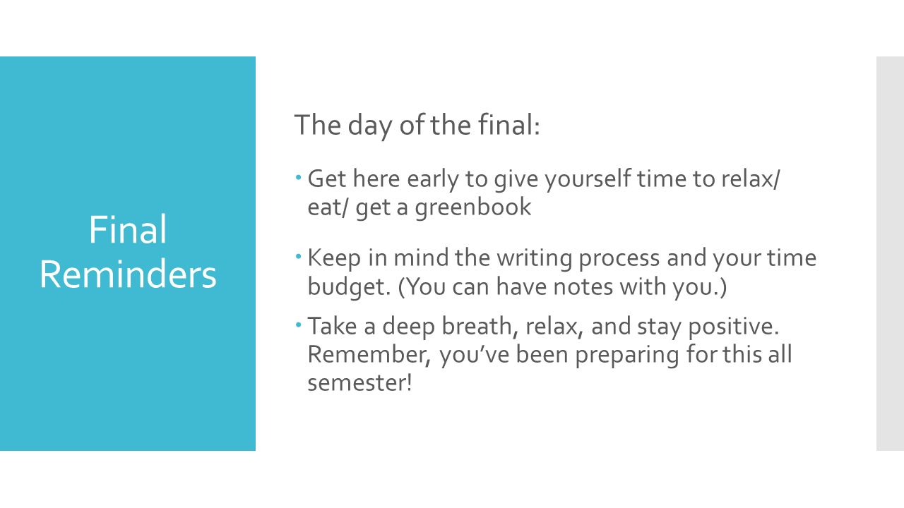 ft english 1a final essay written in class on wednesday 5 11 5 11 final reminders the day of the final 61590 get here early to give yourself time to relax eat get a greenbook 61590 keep in mind the writing process and your