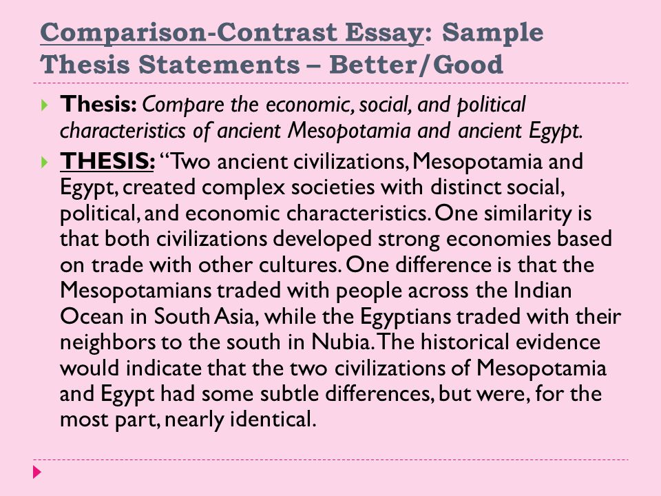 Compare Contrast Thesis Statement Examples