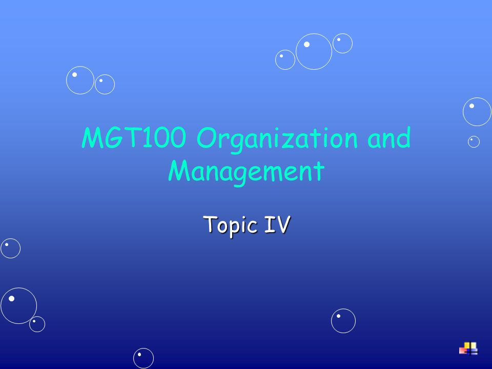 MGT100 Organization and Management Topic IV