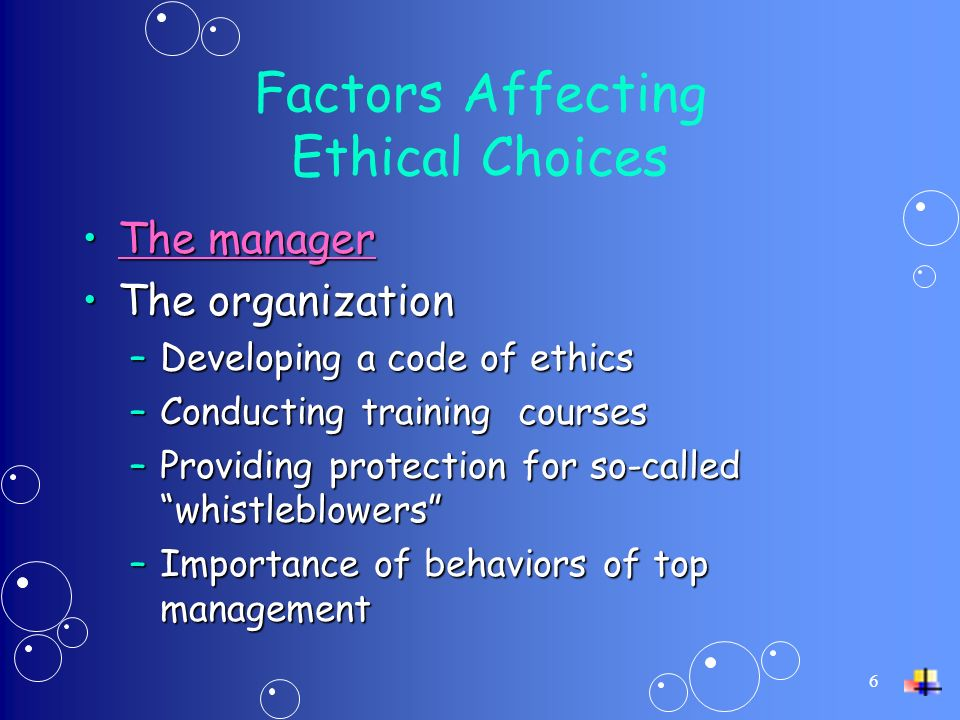 6 Factors Affecting Ethical Choices The managerThe managerThe managerThe manager The organizationThe organization –Developing a code of ethics –Conducting training courses –Providing protection for so-called whistleblowers –Importance of behaviors of top management