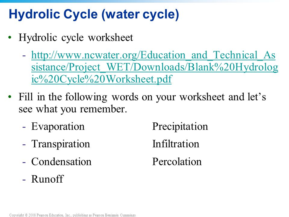 Copyright © 2008 Pearson Education, Inc., publishing as Pearson Benjamin Cummings Hydrolic Cycle (water cycle) Hydrolic cycle worksheet -  sistance/Project_WET/Downloads/Blank%20Hydrolog ic%20Cycle%20Worksheet.pdfhttp://  sistance/Project_WET/Downloads/Blank%20Hydrolog ic%20Cycle%20Worksheet.pdf Fill in the following words on your worksheet and let's see what you remember.