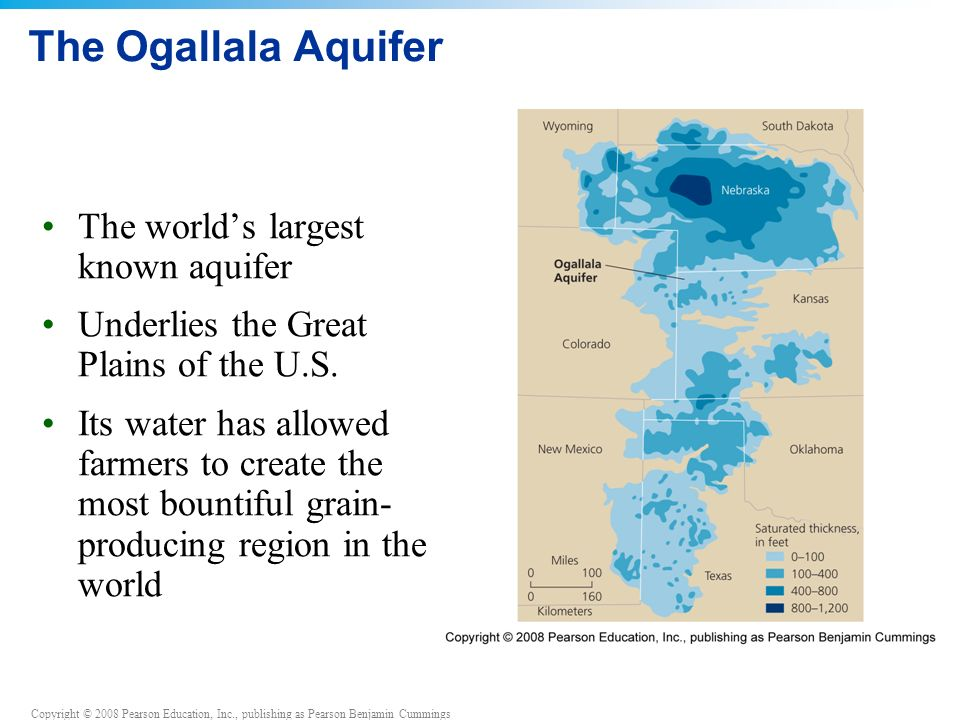 Copyright © 2008 Pearson Education, Inc., publishing as Pearson Benjamin Cummings The Ogallala Aquifer The world's largest known aquifer Underlies the Great Plains of the U.S.