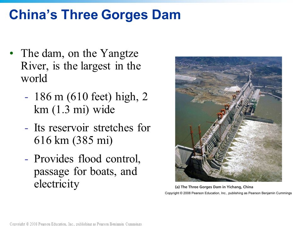 Copyright © 2008 Pearson Education, Inc., publishing as Pearson Benjamin Cummings China's Three Gorges Dam The dam, on the Yangtze River, is the largest in the world -186 m (610 feet) high, 2 km (1.3 mi) wide -Its reservoir stretches for 616 km (385 mi) -Provides flood control, passage for boats, and electricity