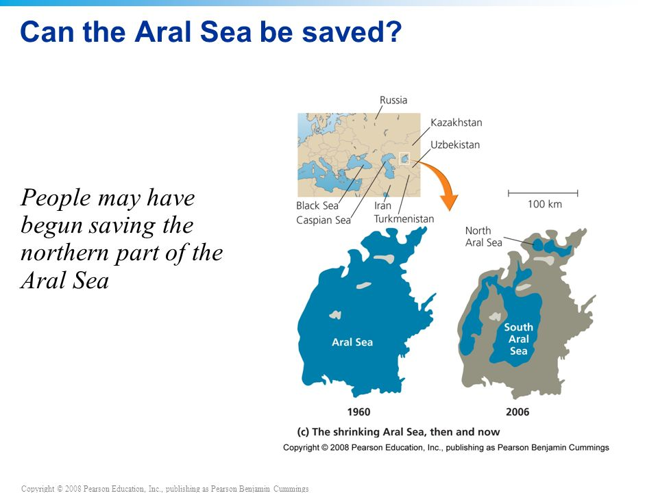 Copyright © 2008 Pearson Education, Inc., publishing as Pearson Benjamin Cummings Can the Aral Sea be saved.